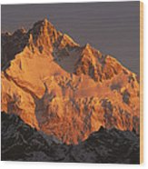 Dawn On Kangchenjunga Talung Wood Print