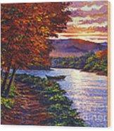 Dawn On The River Wood Print by David Lloyd Glover