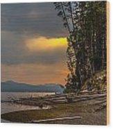 Dawn On Yellowstone Lake Shore Wood Print