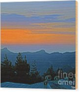 Dawn Over Cross Forest Wood Print