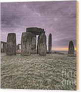 Dawn Over The Stones  Wood Print