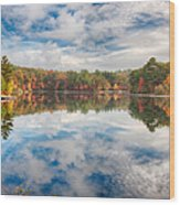 Dawn Reflection Of Fall Colors Wood Print