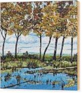 Dawn's Blue Waters Edge  Wood Print