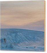 Dawson City Ice Bridge Wood Print by Priska Wettstein