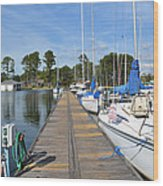Sailboats On The Boardwalk Wood Print