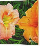 Day Lilies As Happy Friends Wood Print