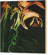 Day Lily At Night Wood Print