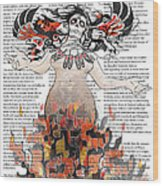 Day Of The Dead Gaia In Flames With Text Illustration Print Wood Print