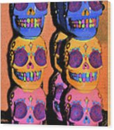 Day Of The Dead Ink Wood Print