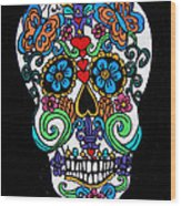 Day Of The Dead Skull Wood Print