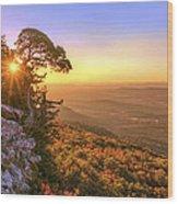 Daybreak On Mt. Magazine - Arkansas - Cedar Tree - Autumn Wood Print