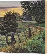 Daybreak Southwest Corner Fenceline Wood Print