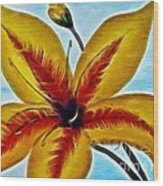 Daylily Expressive  Brushstrokes Wood Print