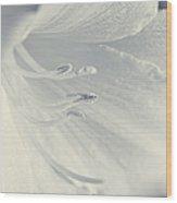 White Daylily Flower Soft Blue Wood Print