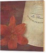 Daylily Vintage Postcard Wood Print