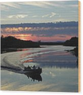 Day's End On The Sebec River Wood Print