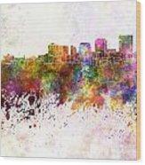 Dayton Skyline In Watercolor Background Wood Print