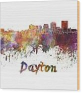 Dayton Skyline In Watercolor Wood Print