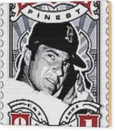 Dcla Carl Yastrzemski Fenway's Finest Stamp Art Wood Print by David Cook Los Angeles