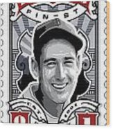 Dcla Ted Williams Fenway's Finest Stamp Art Wood Print by David Cook Los Angeles