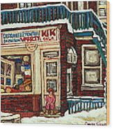 De Bullion Street Depanneur Kik Cola Montreal Streetscenes Wood Print