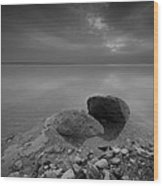 Dead Sea Sunrise Black And White Wood Print by David Morefield