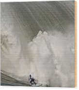 Death-defying Ride On A Surfboard Wood Print
