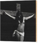 Death On The Cross Wood Print