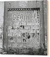 Death Warning Wood Print