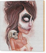 Deathlike Skull Impression Wood Print