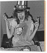 Debbie C. Celebrating July 4th Lincoln Gardens Tucson Arizona 1990 Wood Print
