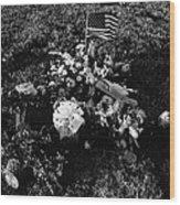 Debbie C's Grave American Flag Evergreen Cemetery Tucson Arizona 1991 Wood Print