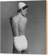 Debbie Dickinson Wearing A Kamali Bathing Suit Wood Print
