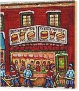 Decarie Hot Dog Restaurant Cosmix Comic Store Montreal Paintings Hockey Art Winter Scenes C Spandau Wood Print