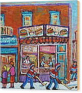 Decarie Hot Dog Restaurant Ville St. Laurent Montreal  Wood Print