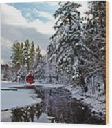 December Afternoon At The Red Boathouse Wood Print