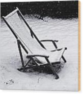 Deck Chair Under The Snow Wood Print