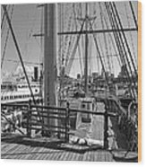 Deck Of Balclutha 3 Masted Schooner - San Francisco Wood Print by Daniel Hagerman