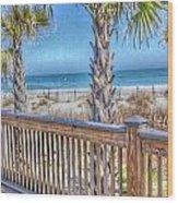 Deck On The Beach Wood Print