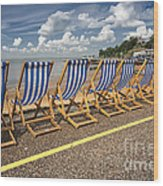 Deckchairs At Southend Wood Print