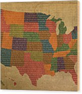 Declaration Of Independence Word Map Of The United States Of America Wood Print