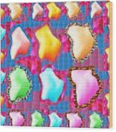 Deco Pattern Patchup Collage Crystals Jewels Rose Flower Petals Wood Print
