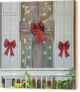 Decorated Christmas Window Key West Wood Print