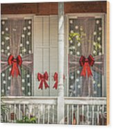 Decorated Christmas Windows Key West - Hdr Style Wood Print
