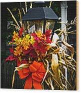 Decorated Lamp Post Wood Print