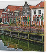 Decorations For Orange Day To Celebrate The Queen's Birthday In Enkhuizen-netherlands Wood Print