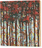 Decorative Abstract Floral Bird Landscape Painting Forest Of Dreams II By Megan Duncanson Wood Print by Megan Duncanson