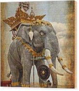 Decorative Elephant Wood Print by Adrian Evans