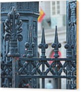 Decorative Iron Fence In New Orleans Wood Print