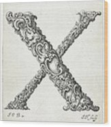Decorative Letter Type X 1650 Wood Print